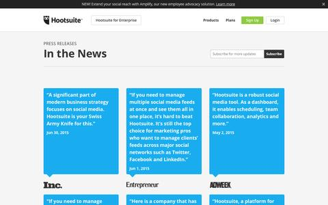 Screenshot of Press Page hootsuite.com - Press Releases - captured Oct. 21, 2015