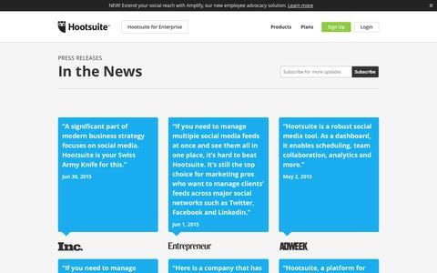 Screenshot of Press Page hootsuite.com - Press Releases - captured Oct. 21, 2015