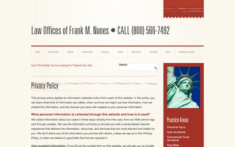 Screenshot of Privacy Page nuneslaw.com - Privacy Policy | Law Offices of Frank M. Nunes, Inc. | Fresno California - captured Oct. 2, 2014