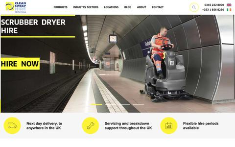 Screenshot of Home Page cleansweephire.co.uk - Industrial Cleaning Equipment Hire & Rental | Clean Sweep Hire - captured Jan. 27, 2020