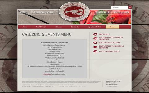 Screenshot of Menu Page mainelobsteroutlet.com - Menu �  Maine Lobster Outlet - captured Dec. 5, 2015