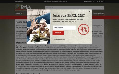 Screenshot of Terms Page ima-usa.com - Terms & Conditions ima-usa.com - captured Feb. 11, 2016