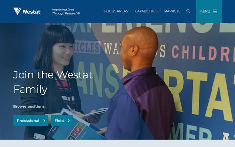 Screenshot of Jobs Page westat.com - Join the Westat Family | Westat - captured July 17, 2018