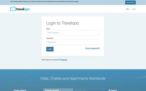Screenshot of Login Page travelopo.com - Login & Book your Holiday with Travelopo - captured Sept. 22, 2018