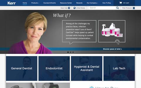 Screenshot of Home Page kerrdental.com - Dental Supplies - Dental Products | KerrDental.com - captured Oct. 1, 2015