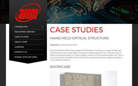Screenshot of Case Studies Page advancedmetalsmachining.com - CASE STUDIES - Advanced Metals Machining - captured Oct. 7, 2017