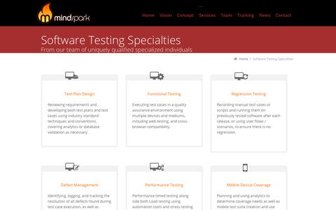 Screenshot of Services Page mindsparktech.com - Software Testing Specialties | Mindspark - An auticon company - captured Oct. 20, 2018