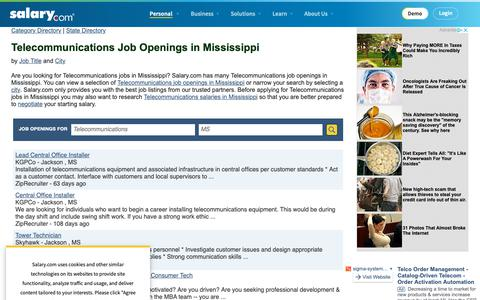 Screenshot of Jobs Page salary.com - Telecommunications Job Openings in Mississippi | Salary.com - captured Oct. 26, 2018