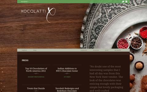 Screenshot of Press Page xocolatti.com - Press - captured Oct. 7, 2014