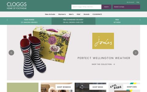 Screenshot of Home Page cloggs.co.uk - Shoe Shop with a Huge Range of Fantastic Brands for All The Family - captured Nov. 13, 2016