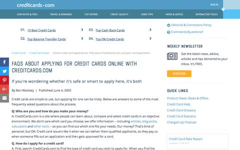 Screenshot of FAQ Page creditcards.com - Online credit card applications: FAQ about CreditCards.com and your card application - captured Nov. 8, 2017