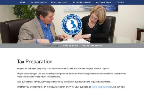 Screenshot of Services Page bulgercpa.com - Tax Preparation — Tom Bulger, CPA - captured Feb. 16, 2016