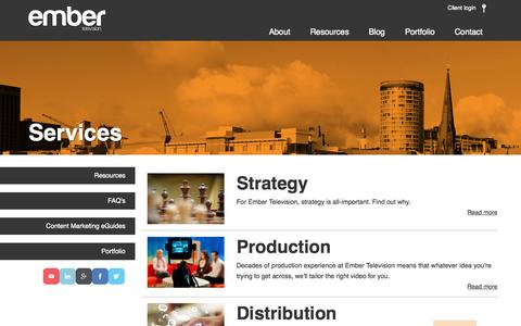 Screenshot of Services Page embertelevision.co.uk - Video production services   Birmingham and beyond   Ember Television - captured Sept. 19, 2014