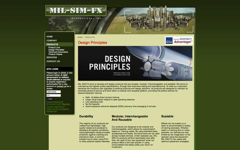 Screenshot of Products Page milsimfx.com - MIL-SIM-FX International Inc - Design Principles - captured Nov. 16, 2016