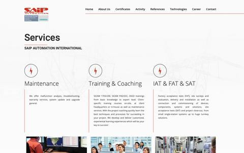 Screenshot of Services Page saip.ro - Services offered – SAIP Automation International - captured Oct. 1, 2018