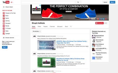 Screenshot of YouTube Page youtube.com - Shopit Adiksta  - YouTube - captured Oct. 26, 2014