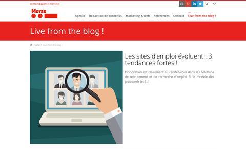 Screenshot of Blog agence-morse.fr - Live from the blog ! --> Agence Morse - captured July 24, 2016