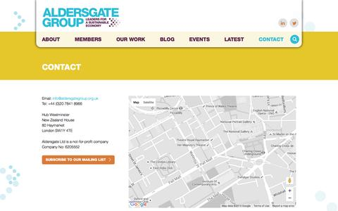 Screenshot of Contact Page aldersgategroup.org.uk - Contact - captured Dec. 24, 2015