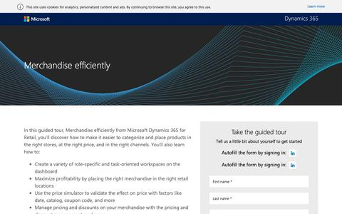 Screenshot of Landing Page microsoft.com - Merchandise efficiently guided tour |Microsoft Dynamics 365 - captured Oct. 31, 2018