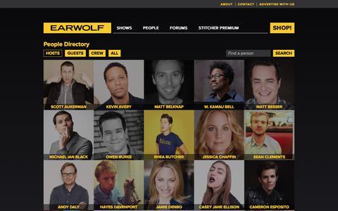 Screenshot of Team Page earwolf.com - Directory on Earwolf - captured Jan. 29, 2020