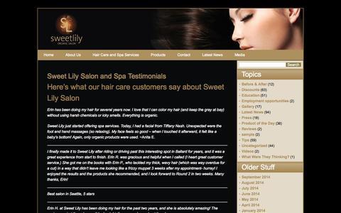 Screenshot of Testimonials Page sweetlilysalon.com - Sweet Lily Salon and Spa testimonials of organic hair care and skin treatment, Ballard - Seattle | Sweet Lily Organic Salon - captured Sept. 30, 2014