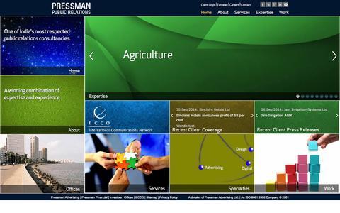 Screenshot of Home Page pressmanpr.com - Pressman PR | Leading PR Agency, India | The specialist Public Relations division of Pressman Advertising Ltd. - captured Sept. 30, 2014
