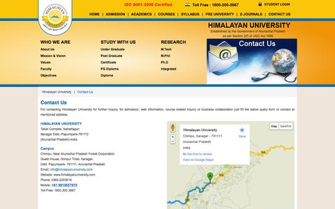 Screenshot of Contact Page himalayanuniversity.com - Contact Us - Himalayan University - captured Dec. 10, 2015