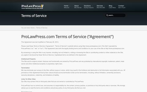 Screenshot of Terms Page prolawpress.com - Terms of Service - ProLawPress.com | ProLawPress.com - captured Oct. 3, 2014