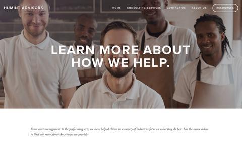 Screenshot of Menu Page humintadvisors.com - Consulting Services — Humint Advisors - captured Nov. 15, 2016