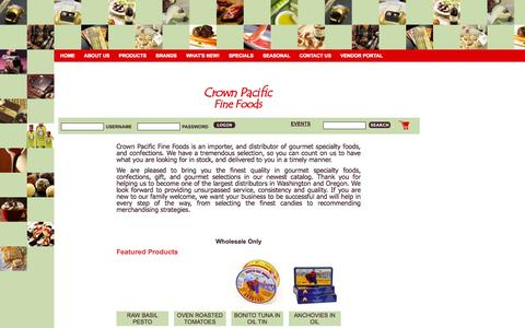 Screenshot of Home Page cpff.net - Home | Crown Pacific Fine Foods - captured Oct. 3, 2014