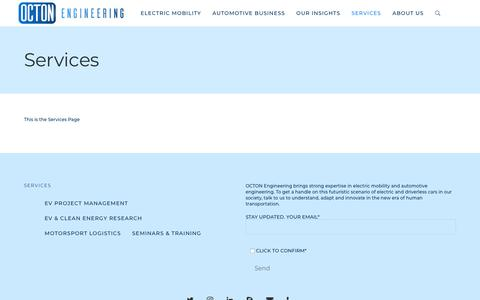 Screenshot of Services Page octon.in - Services – OCTON Engineering | Electric Mobility | EV | Lithium Power | India | Electric Power Train | Clean Disruption - captured Oct. 18, 2018