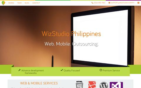 Screenshot of Home Page wiz-studio.com - WizStudio Philippines Web and mobile applications development - captured Feb. 15, 2016