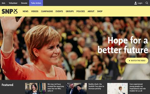 Screenshot of Home Page snp.org - Scottish National Party — Scotland's largest political party and party of Government. Centre left and social democratic. - captured Nov. 8, 2018