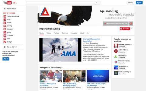 Screenshot of YouTube Page youtube.com - ImperialConsulting  - YouTube - captured Oct. 26, 2014