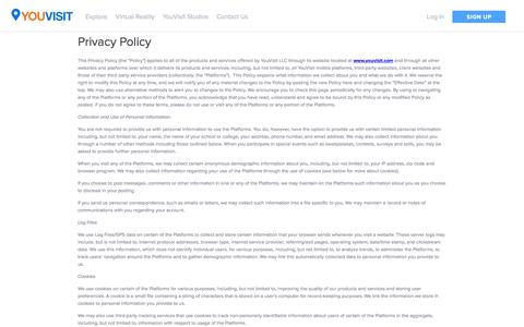 Screenshot of Privacy Page youvisit.com - Privacy Policy | YouVisit - captured Feb. 28, 2016