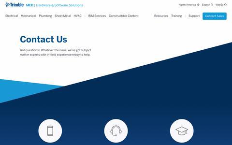 Screenshot of Contact Page trimble.com - Contact Us | Solutions For MEP Contractors | Trimble MEP - captured Oct. 24, 2018