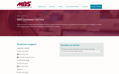 Screenshot of Contact Page Support Page mbsbooks.com - MBS Textbook Exchange, LLC - captured Sept. 29, 2017