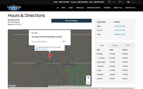 Screenshot of Maps & Directions Page Hours Page sford.com - Southland Ford Hours of Operation   Ashburn Ford Dealer Directions - captured Dec. 4, 2018