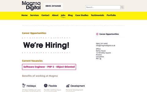 Screenshot of Jobs Page magmadigital.co.uk - Jobs - Job Opportunities, Preston Lancashire | PHP Developers, Designers - captured Oct. 4, 2014