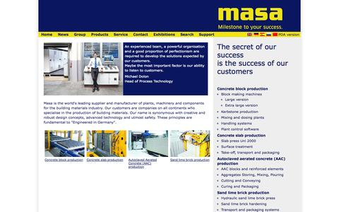 Screenshot of Products Page masa-group.com - Masa - Products - captured Oct. 27, 2014