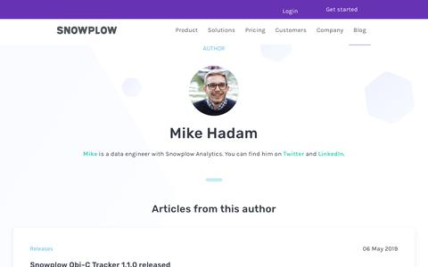 Screenshot of Blog snowplowanalytics.com - Blog – Mike Hadam - captured Feb. 10, 2020