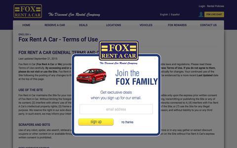 Screenshot of Terms Page foxrentacar.com - Fox Rent A Car - Terms of Use - captured Aug. 4, 2016