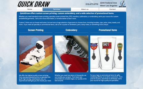 Screenshot of Services Page quickdraw1.com - QuickDraw! Custom Printing Services - captured Nov. 16, 2016