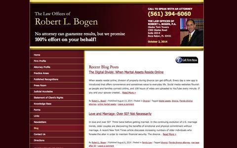 Screenshot of Blog bogenlaw.com - The Digital Divide: When Marital Assets Reside Online - captured Oct. 2, 2014
