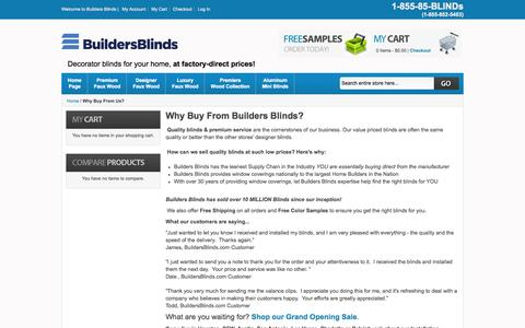 Screenshot of About Page buildersblinds.com - Why Buy From Us? - captured Sept. 30, 2014