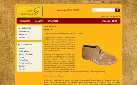Screenshot of About Page sable-safariwear.co.uk - About Us - captured Oct. 4, 2014