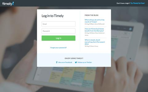 Screenshot of Login Page gettimely.com - Welcome to Timely - captured Aug. 24, 2016