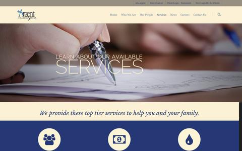 Screenshot of Services Page argentfinancial.com - Our Available Services | Argent Financial Group, INC - captured Oct. 27, 2014
