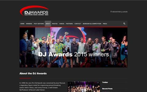 Screenshot of About Page djawards.com - DJ Awards: About the DJ Awards - captured Jan. 31, 2016