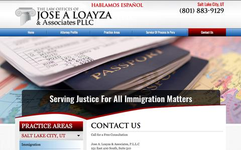 Screenshot of Contact Page loayzalaw.com - Contact The Law Offices of Jose A Loayza - captured Nov. 27, 2016